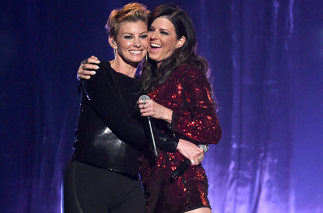 Faith Hill and Karen Fairchild of Little Big Town perform onstage during the 2015 Billboard Music Awards