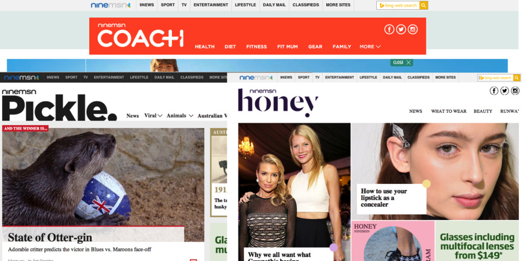 ninemsn coach, honey and pickle 1200x600