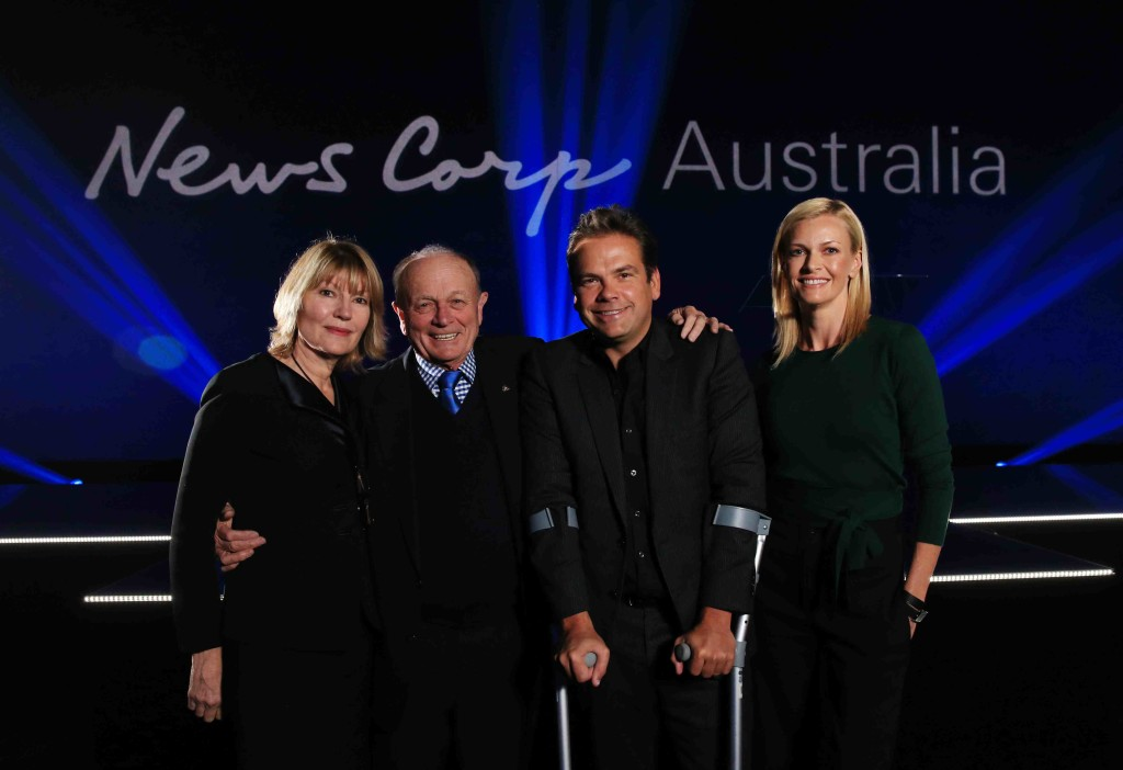News Corp Australia hold the Come Together event at Fox Studios in Moore Park, a launch event to announce new products and initiatives to the industry. L-R Katie Page, Gerry Harvey, Lachlan and Sarah Murdoch. Picture: Toby Zerna
