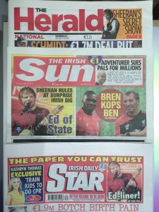 The Sun and the Herald Ireland ed sheeran red room