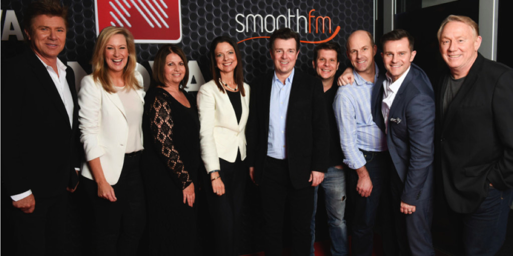 smoothfm Sydney team: Richard Wilkins, Melissa Doyle, Bogart Torelli, Cathy O'Connor, Paul Jackson, Byron Webb, Peter Clay, David-Campbell and Ron Wilson