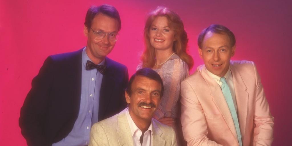 Original Beyond 2000 hosts Jeff Watson, Iain Finlay, Carmel Travers and Chris Ardill-Guinness