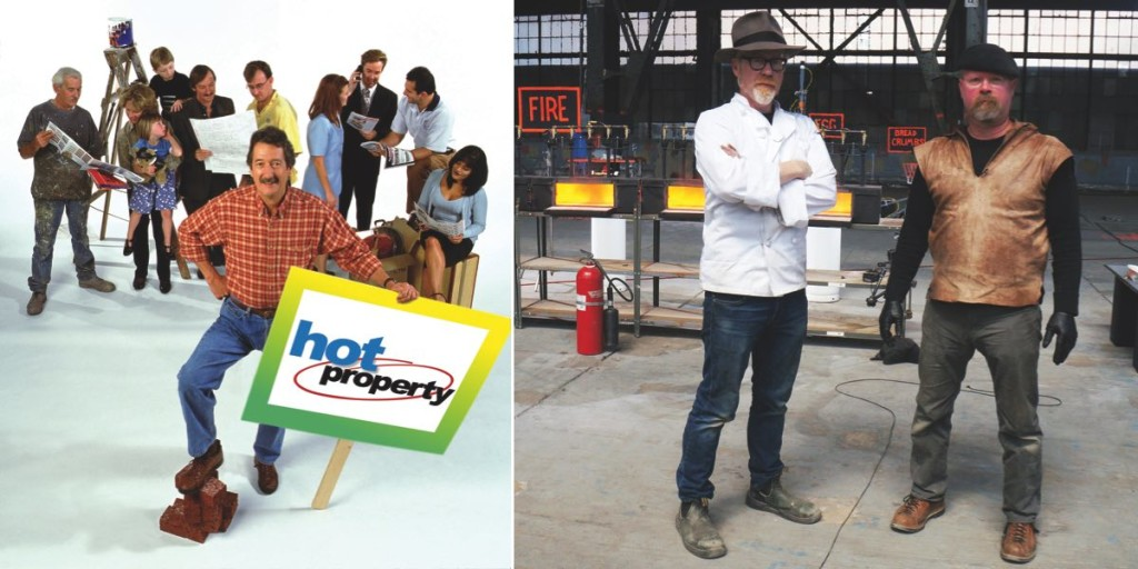 Hot Property host Michael Caton (L) and Mythbusters' Adam Savage and Jamie Hyneman (R)
