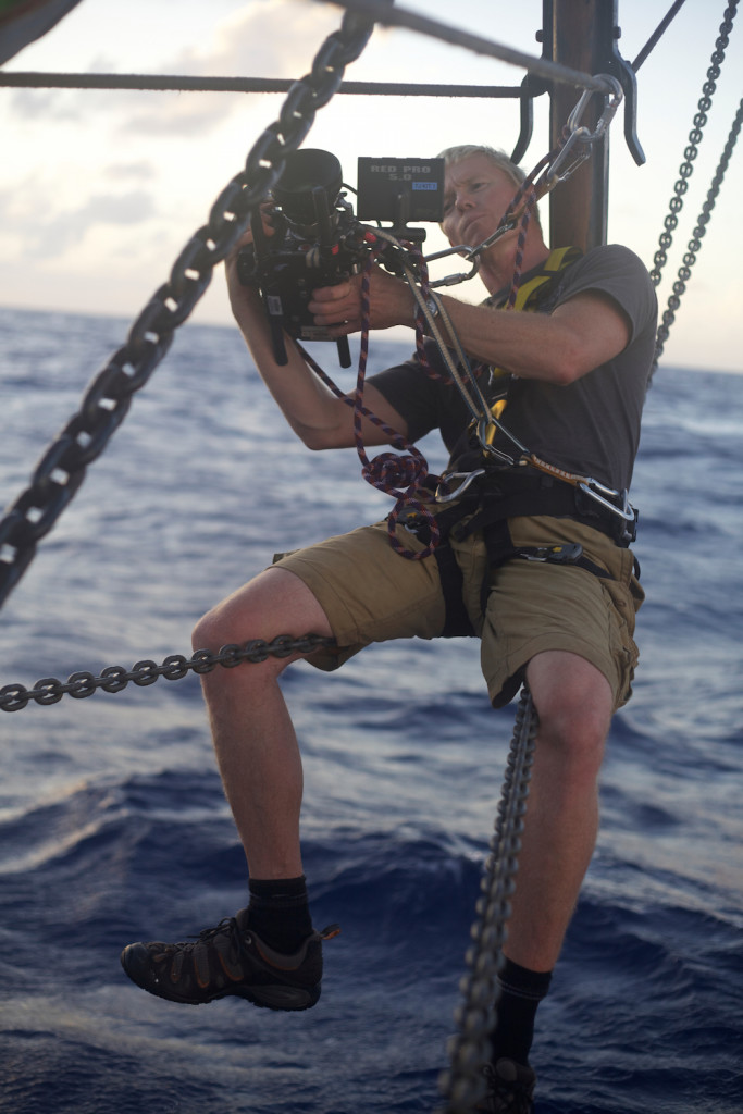 Picture shows:  Camera Operator on boat ñ Tres Hombre