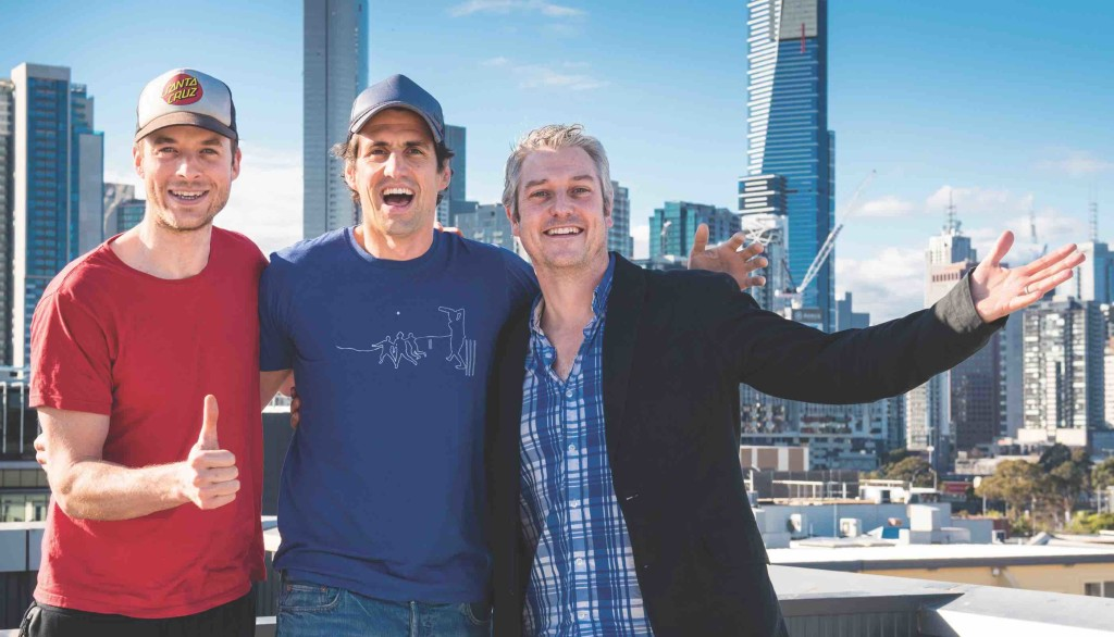 SCA's Dave Cameron with Hamish and Andy on the World Famous Rooftop