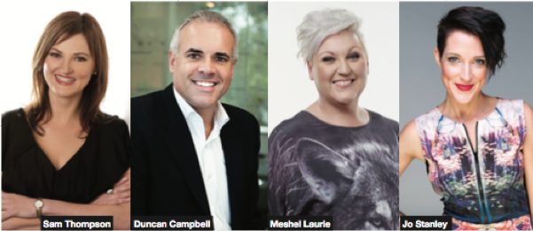 Sam Thompson, Duncan Campbell, Meshel Laurie, and Jo Stanley