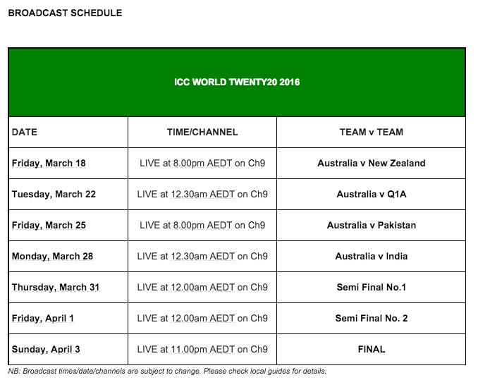 Nine T20 schedule