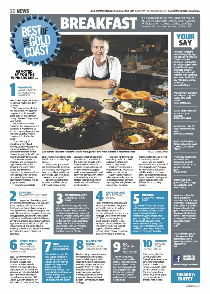The Best of Breakfast page that ran in the Gold Coast Bulletin on 13 September 2014