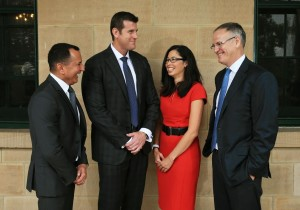 News Corporation and Westpac launch the ANZAC to Afghanistan: Learn the legend event at the Victoria Army barracks in Paddington. A series of ANZAC coins will be available through News Corp papers around the country. L-R George Frazis, Westpac Chief Executive, Consumer Bank, Ben Roberts-Smith VC, Leesa Kwok and Michael Miller, News Corp Australia. Picture: Toby Zerna