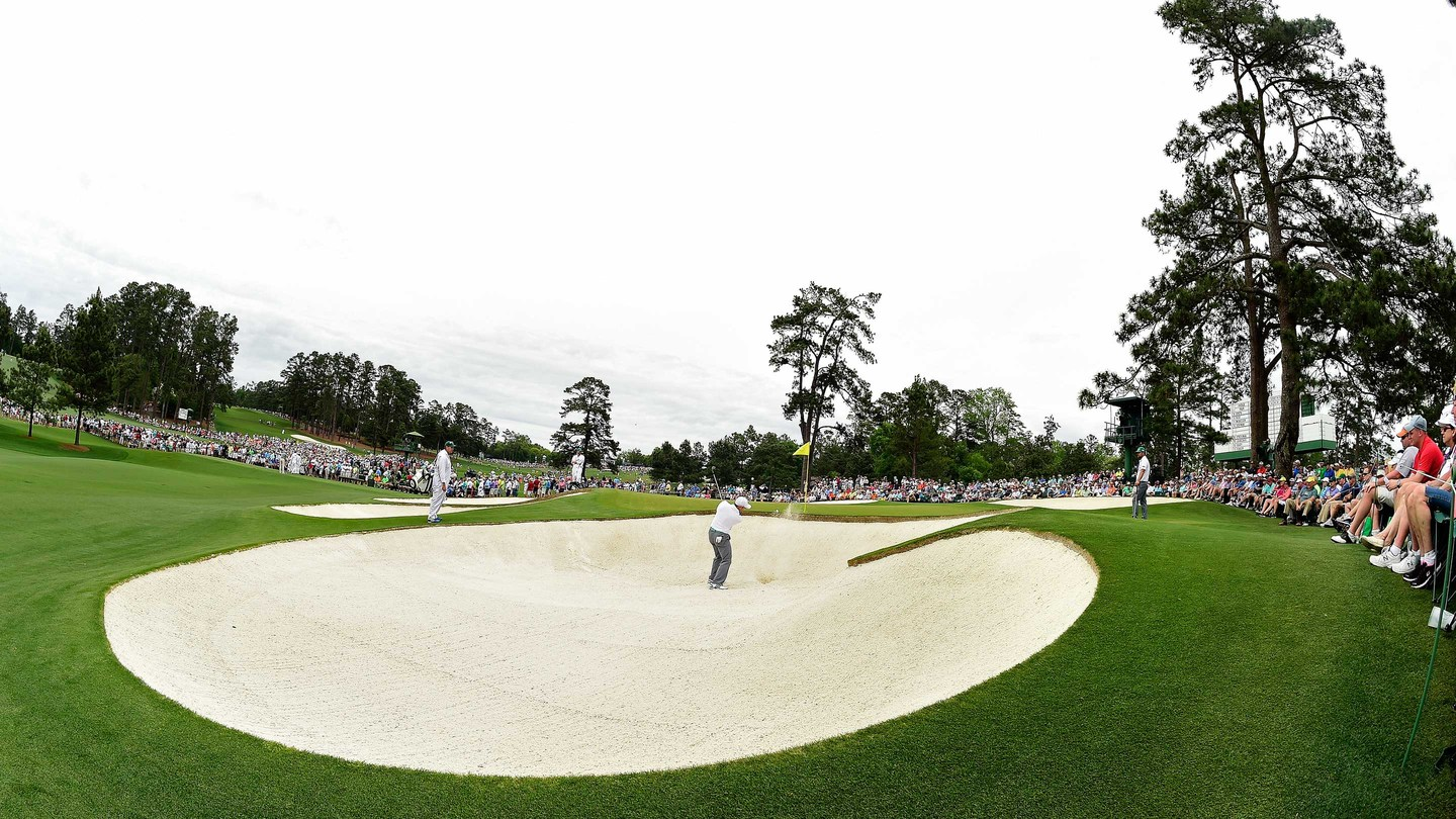 Sergio Garcia of Spain blasts from the bunker at No. 7 during the fourth round of the Masters at Augusta National on Sunday, April 12, 2015.