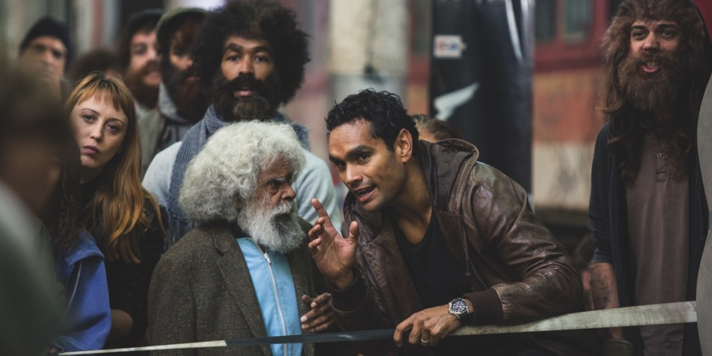 Jack Charles as Uncle Jimmy with Waruu West played by Rob Collins