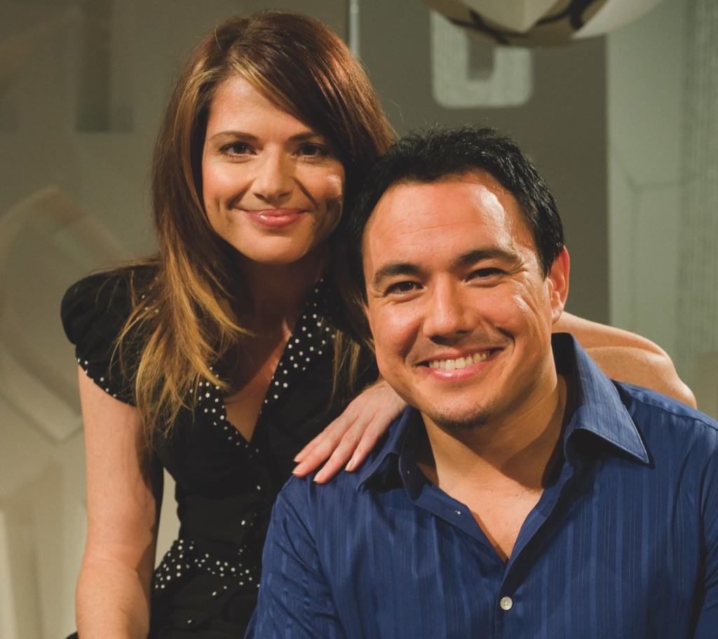 Eurovision hosts Julia Zemiro and Sam Pang