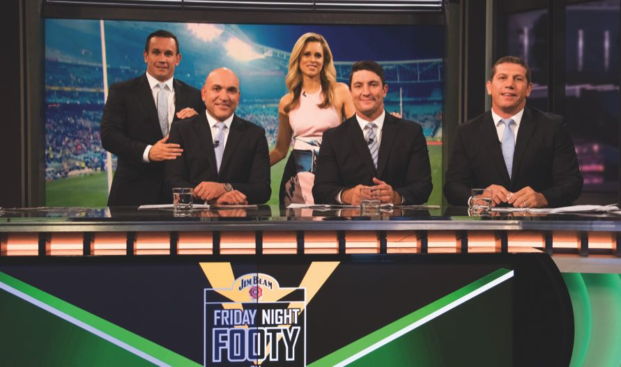 Friday Night Footy On Fox team (L-R) Matty Johns, Gorden Tellis, Megan Barnard, Nathan Hindmarsh, Bryan Fletcher