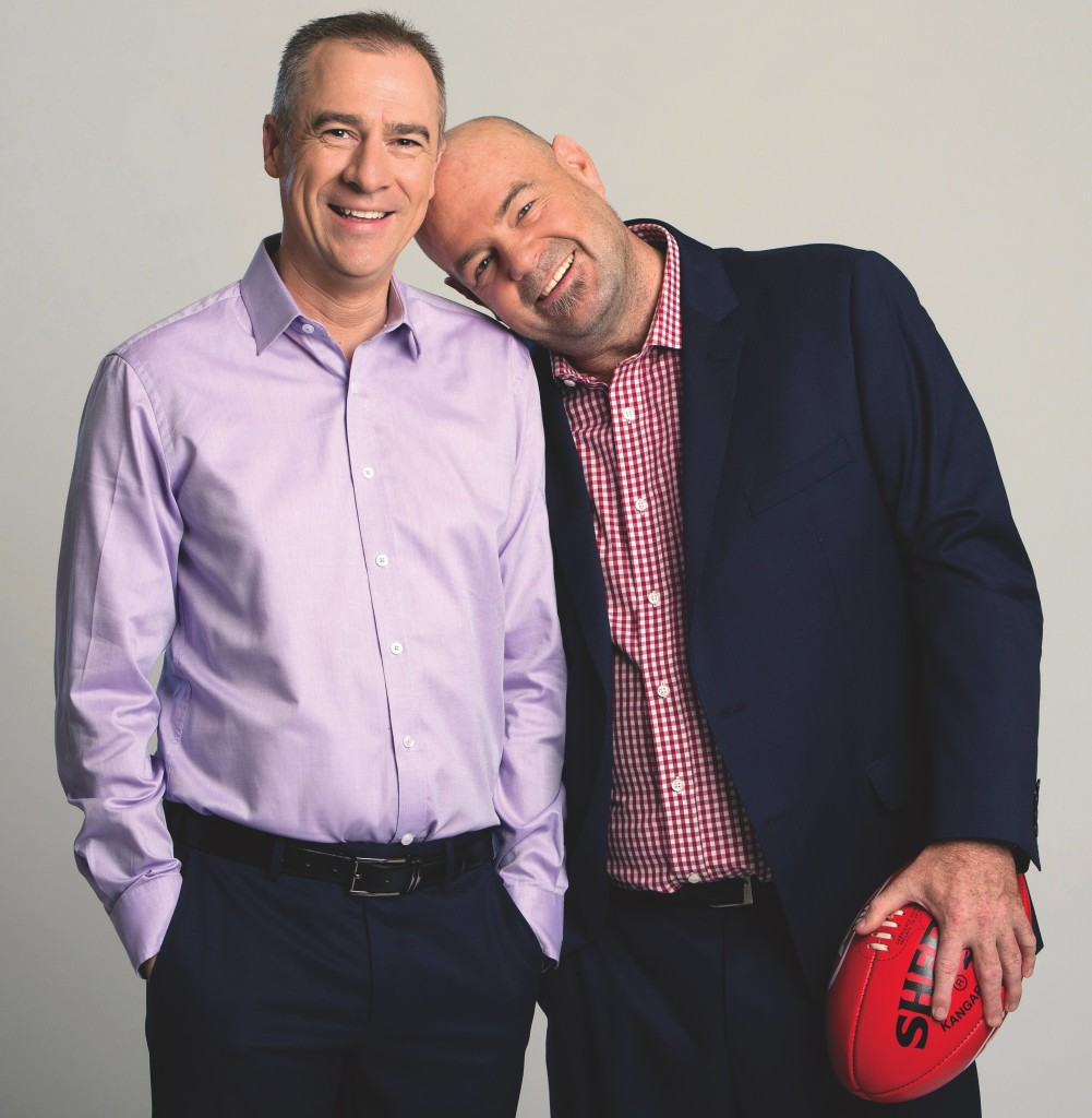 Gerard Whateley and his co-host Mark Robinson. Robbo is also chief football writer for the Herald Sun and works on radio for SEN 1116