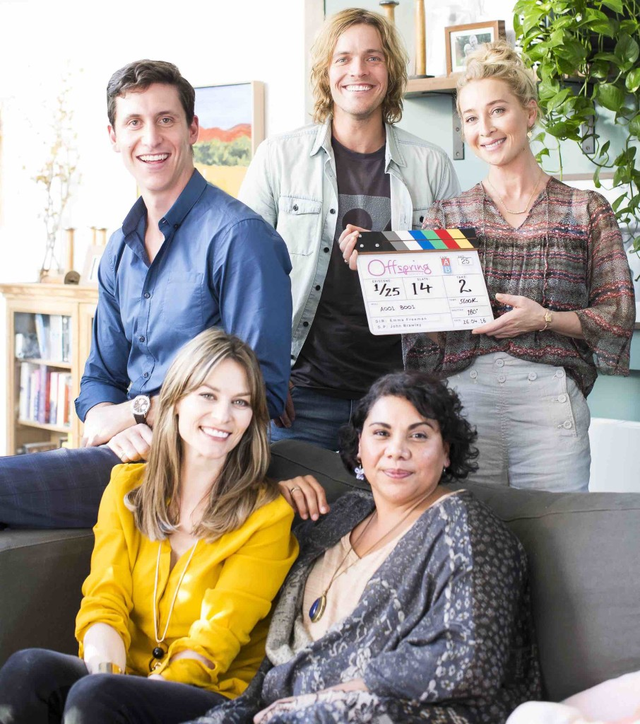 Offspring Season 6. Back - TJ Power, Richard Davies, Asher Keddie. Seated - Kat Stewart, Deborah Mailman