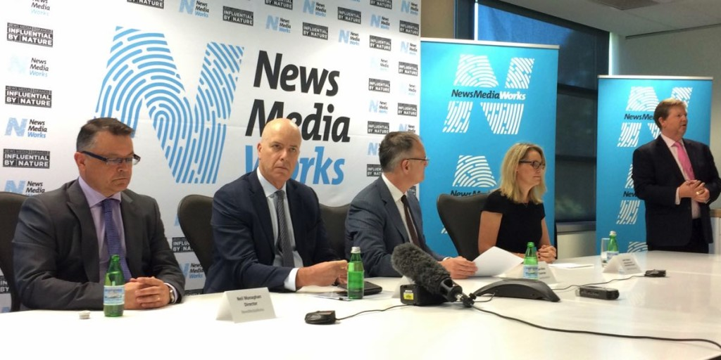 Australian Regional Media CEO Neil Monaghan, Fairfax Media CEO Greg Hywood, News Corp Australasia executive chairman Michael Miller, Standard Media Index managing director Jane Schulze and NewsMediaWorks CEO Mark Hollands