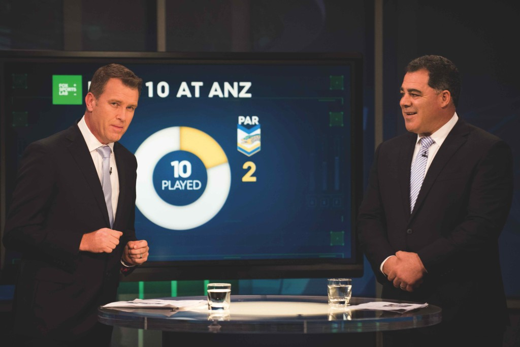 Andrew Voss and Mal Meninga on set