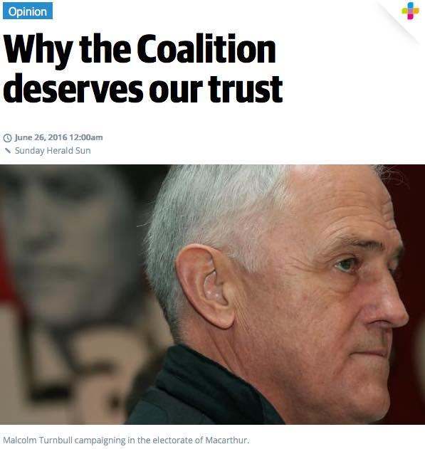 Sunday Herald Sun election 2016