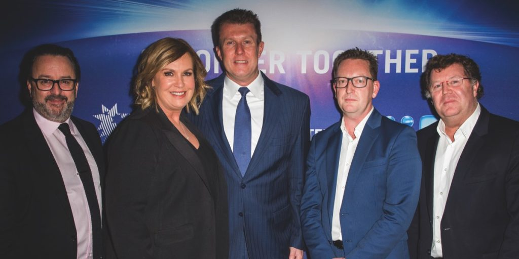 SCA's Brian Gallagher, Nine's Tracy Grimshaw, Peter Overton and Michael Stephenson, SCA's Grand Blackley