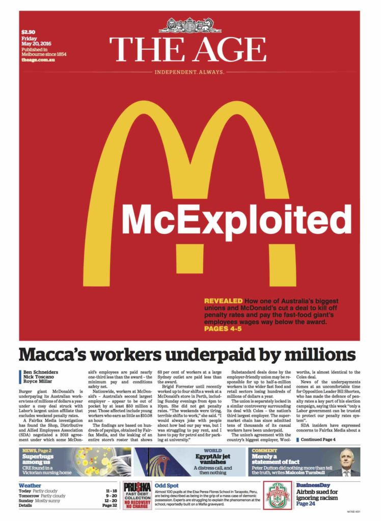 The Age McExploited front page