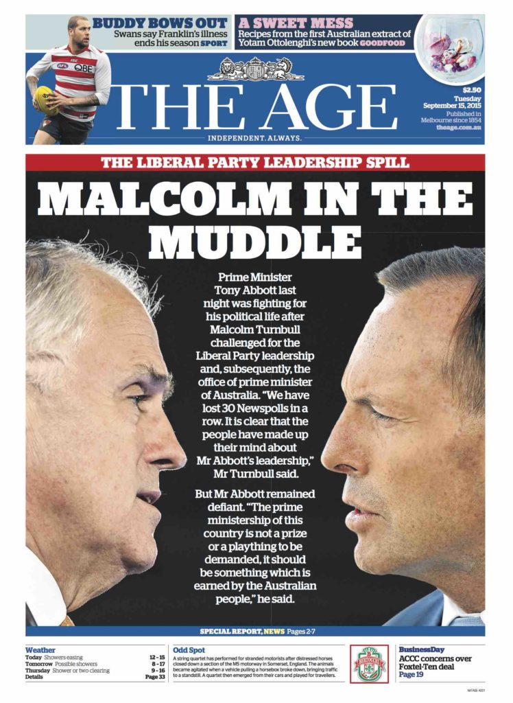 The Age front page with Shorten and Turnbull