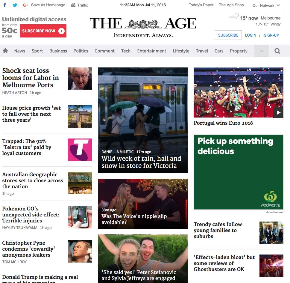 The Age website after redesign