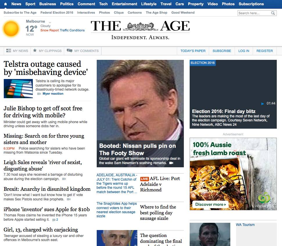 The Age wesbite on 1 July, before the redesign