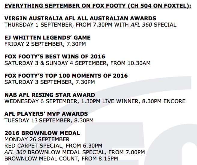 Fox Footy schedule