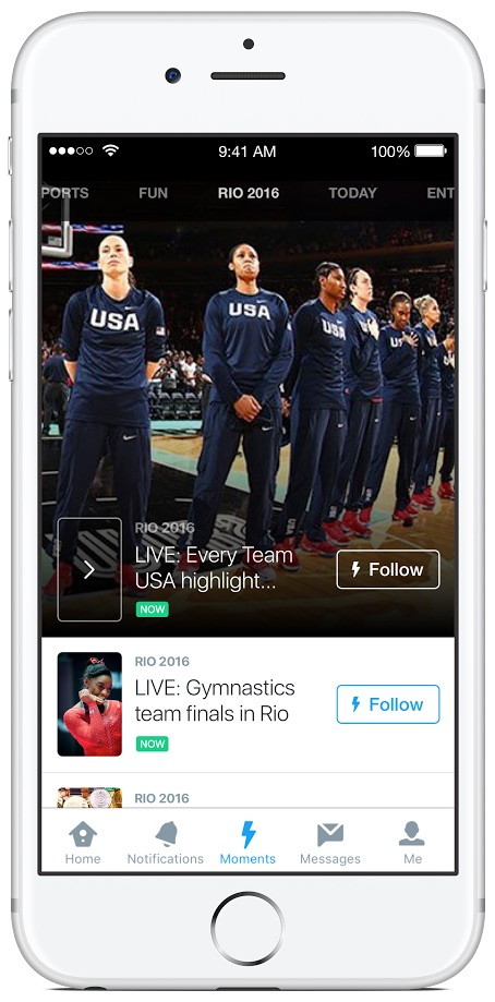 Olympics coverage on Twitter Moments