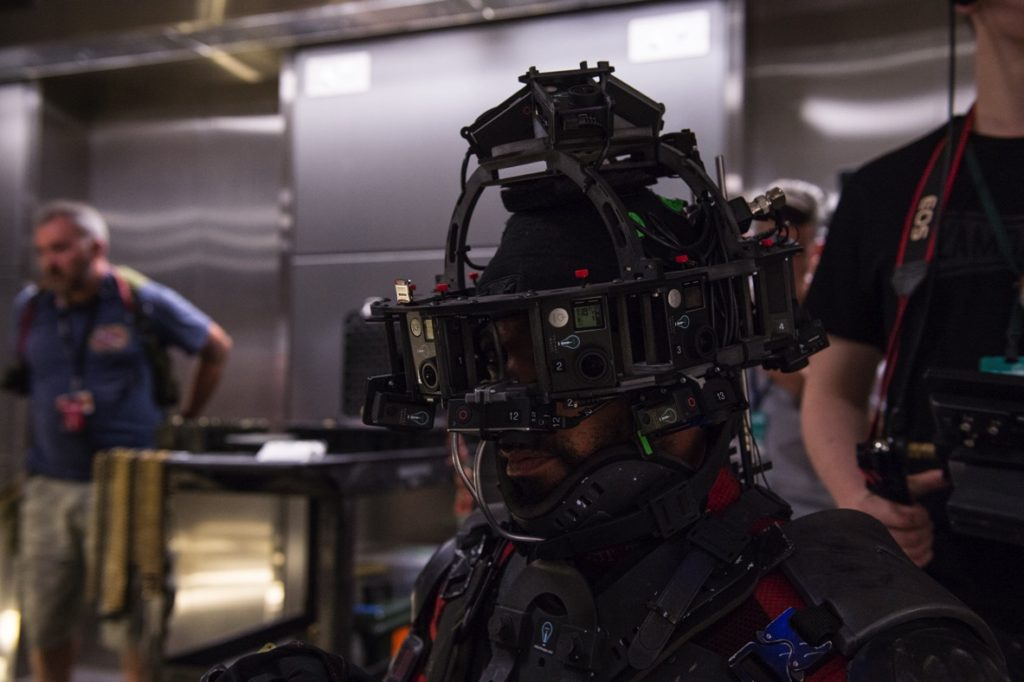 Will Smiths stunt double wears the custom camera head-mount