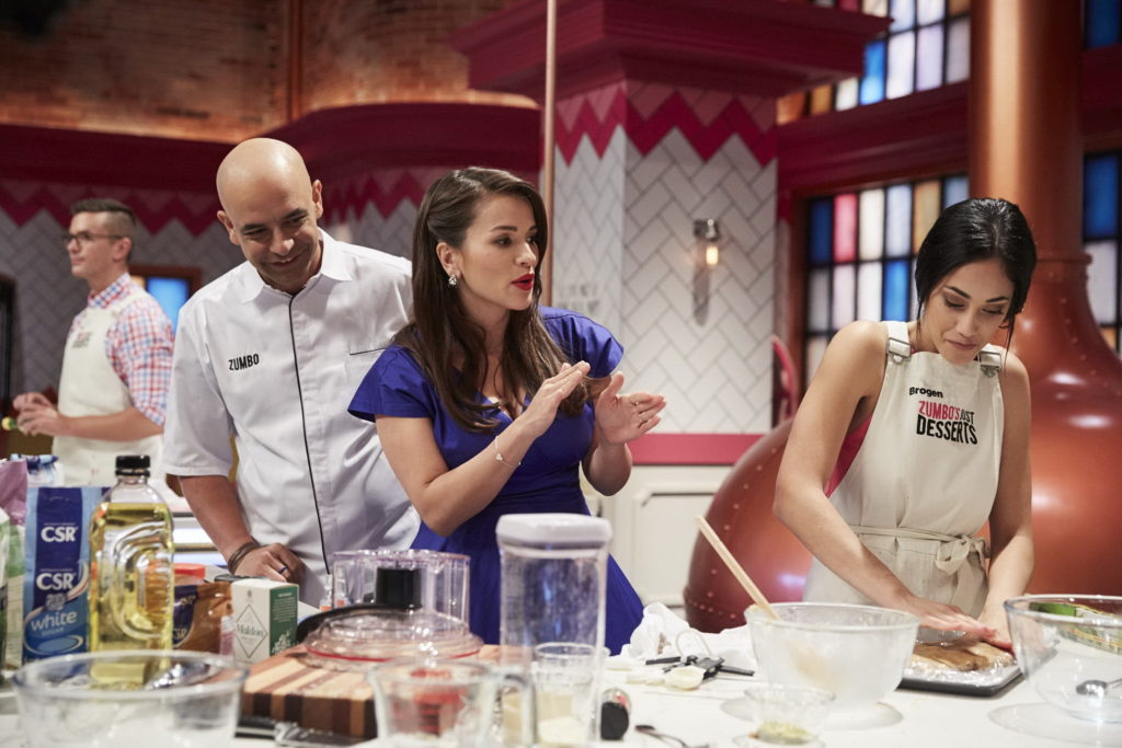 Zumbo and Rachel Khoo with contestant stay-at-home mum Brogen
