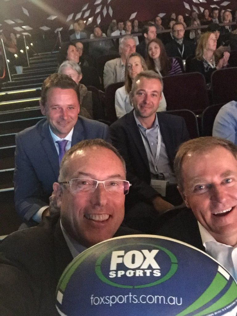 Fox Sports CEO Patrick Delany [front L] beside Foxtel CEO Peter Tonagh, behind them are Adam Howarth [L – acquisitions and integration manager] and Lee Robson [head of publicity]