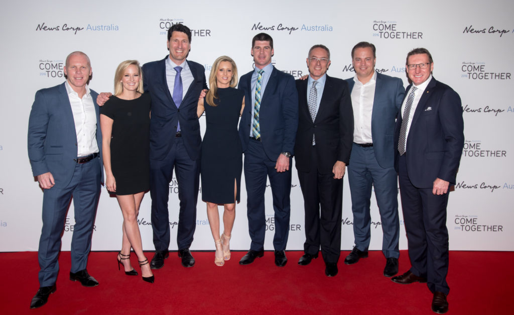 Fox Sports team [L-R] Robbie Slater, Jessica Yates, John Eales, Jonathan Brown, CEO Patrick Delany, Mark Bosnich and Mark Skaife