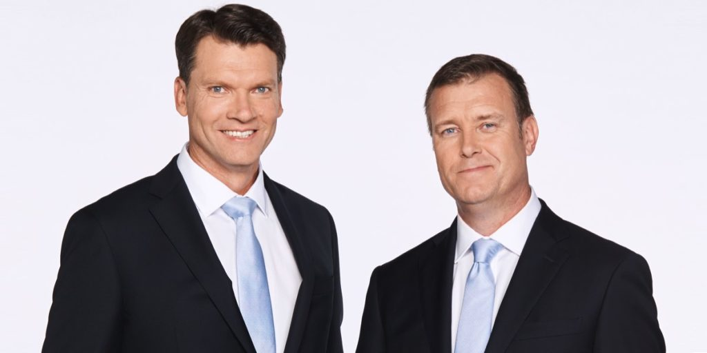 Fox Sports NRL callers Warren Smith and Andrew Voss