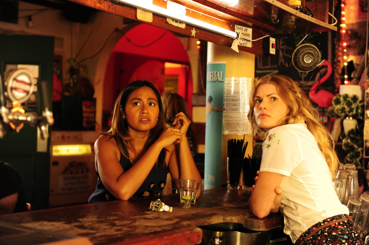 Bille Carter (Jessica Mauboy) with Layla Chapple (Bonnie Sveen)
