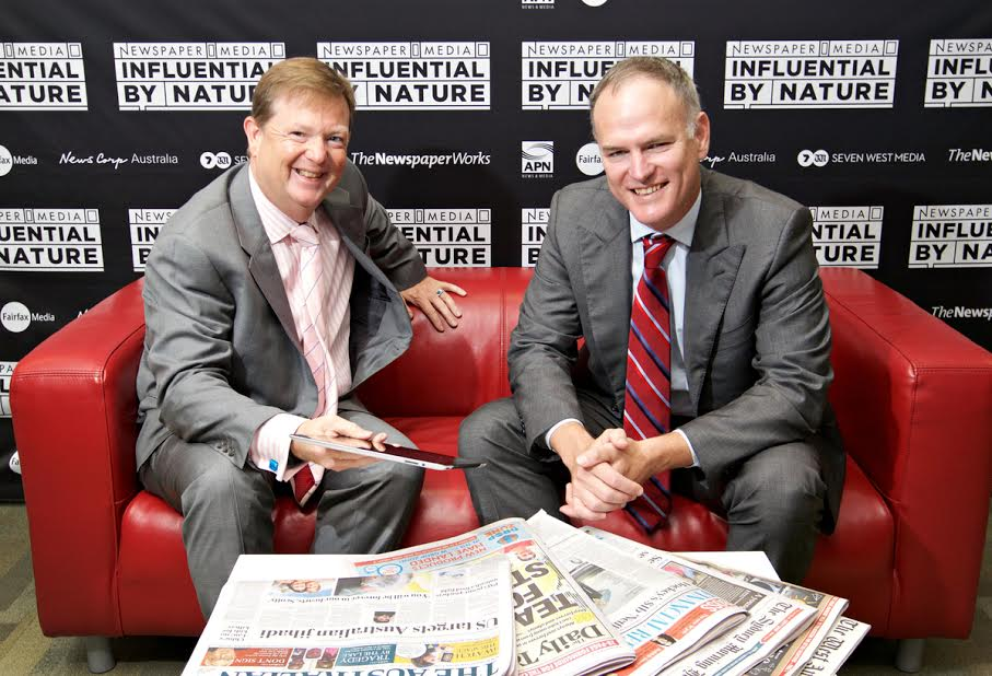 NewsMediaWorks CEO Mark Hollands and News Corp Australia's Michael Miller