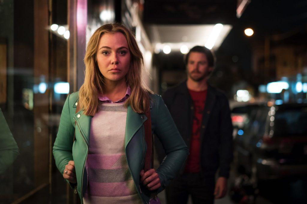 Jessica Marais with blurry co-star Ian Meadows