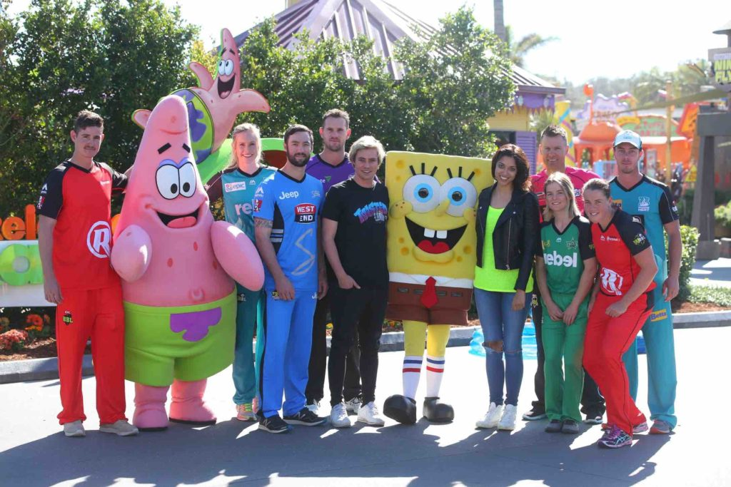 BBL Cricketers with Crash The Bash hosts Ollie McCormack and Kristy Best