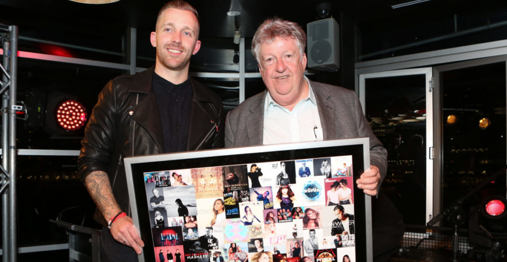 Pat and Denis Handlin with Pats Sony Music A&R achievement award