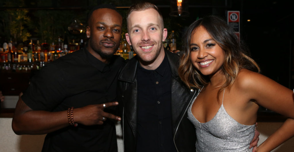 Pat Handlin with Timomatic and Jessica Mauboy at his farewell