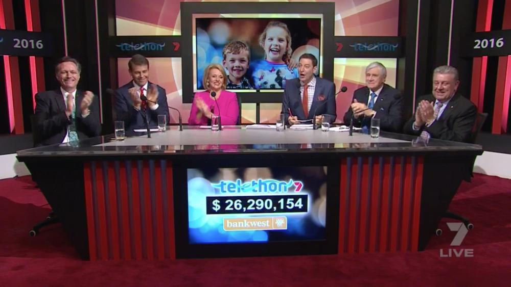 The Telethon all-stars as the new total is reached last night [L-R]: Telethon Institute director Professor Jonathan, Seven Perth newsreaders Rick Ardon and Susannah Carr, Basil Zempilas, Kerry Stokes and Chris Wharton