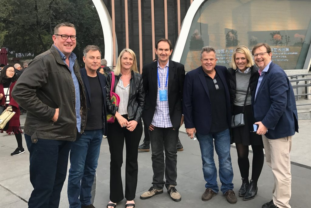 Some of the Australians on the tour [L-R]: Rob Raschke, Mark Furness, Colleen Egan, James Manning, Jeff Brown, Samantha Hutchison and Mark Hollands