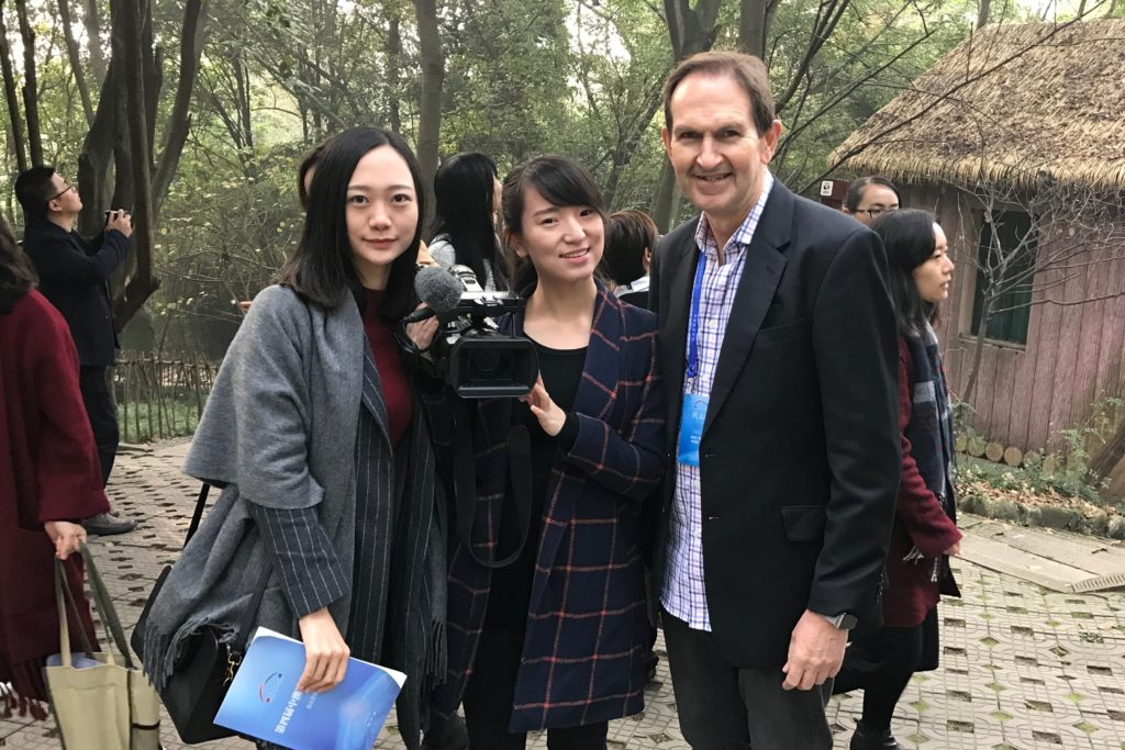 Mediaweek's James Manning with Ellen Zhang and a colleague from Chengdu Radio & Television