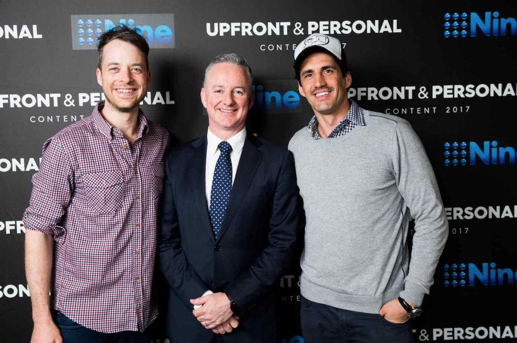 Hamish Blake, Nine CEO High Marks and Andy Lee at Nine Upfront