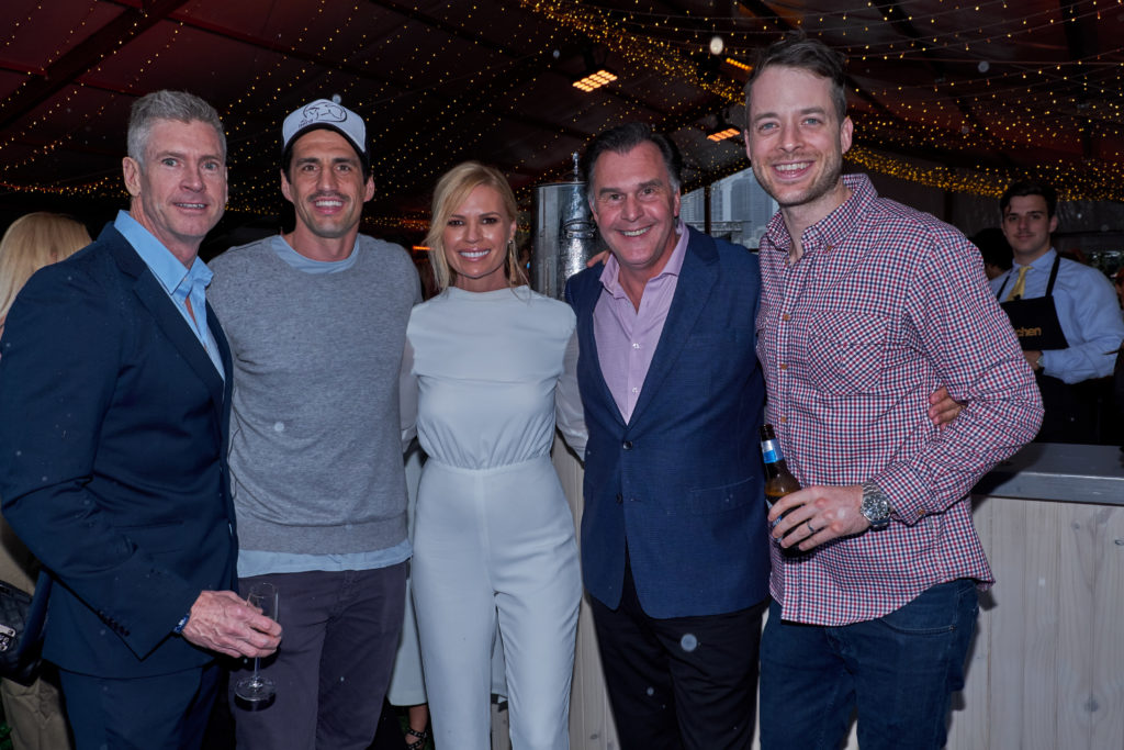 Michael Healy with Hamish and Andy, Sonia Kruger and their manager Mark Klemens