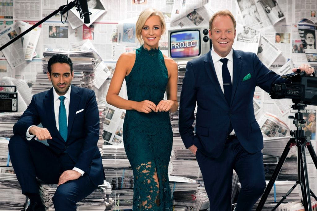 Weeknights are anchored by Waleed Aly, Carrie Bickmore and Peter Helliar from The Project