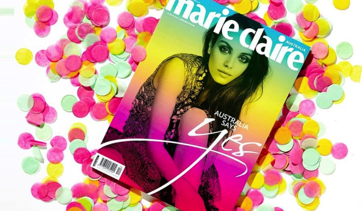 marie claire marks the yes vote with a limited edition cover wrap mediaweek. Black Bedroom Furniture Sets. Home Design Ideas