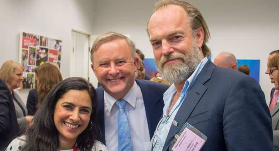 Anthony Albanese with actors Leah Vandenberg and Hugo Weaving in Canberra