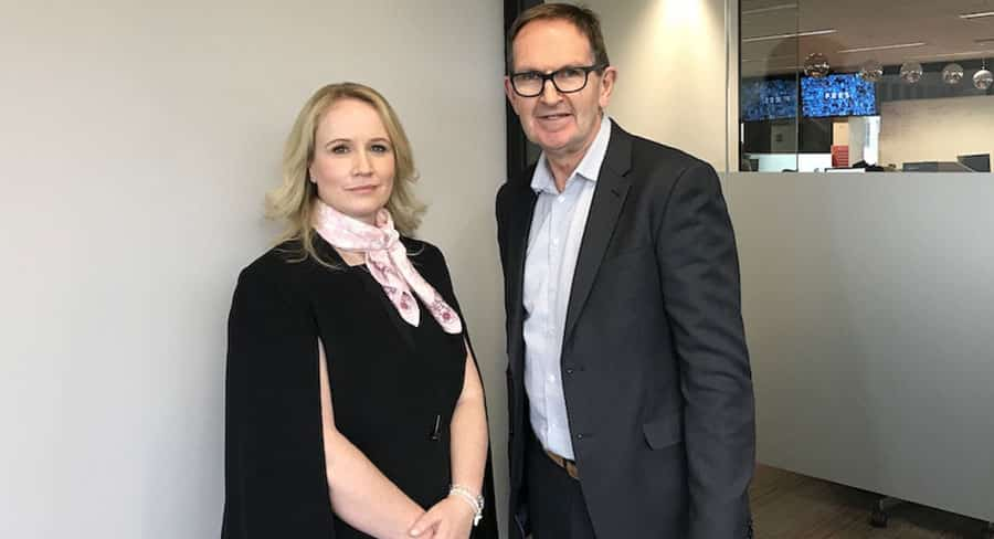 Beverley McGarvey with Mediaweek's James Manning