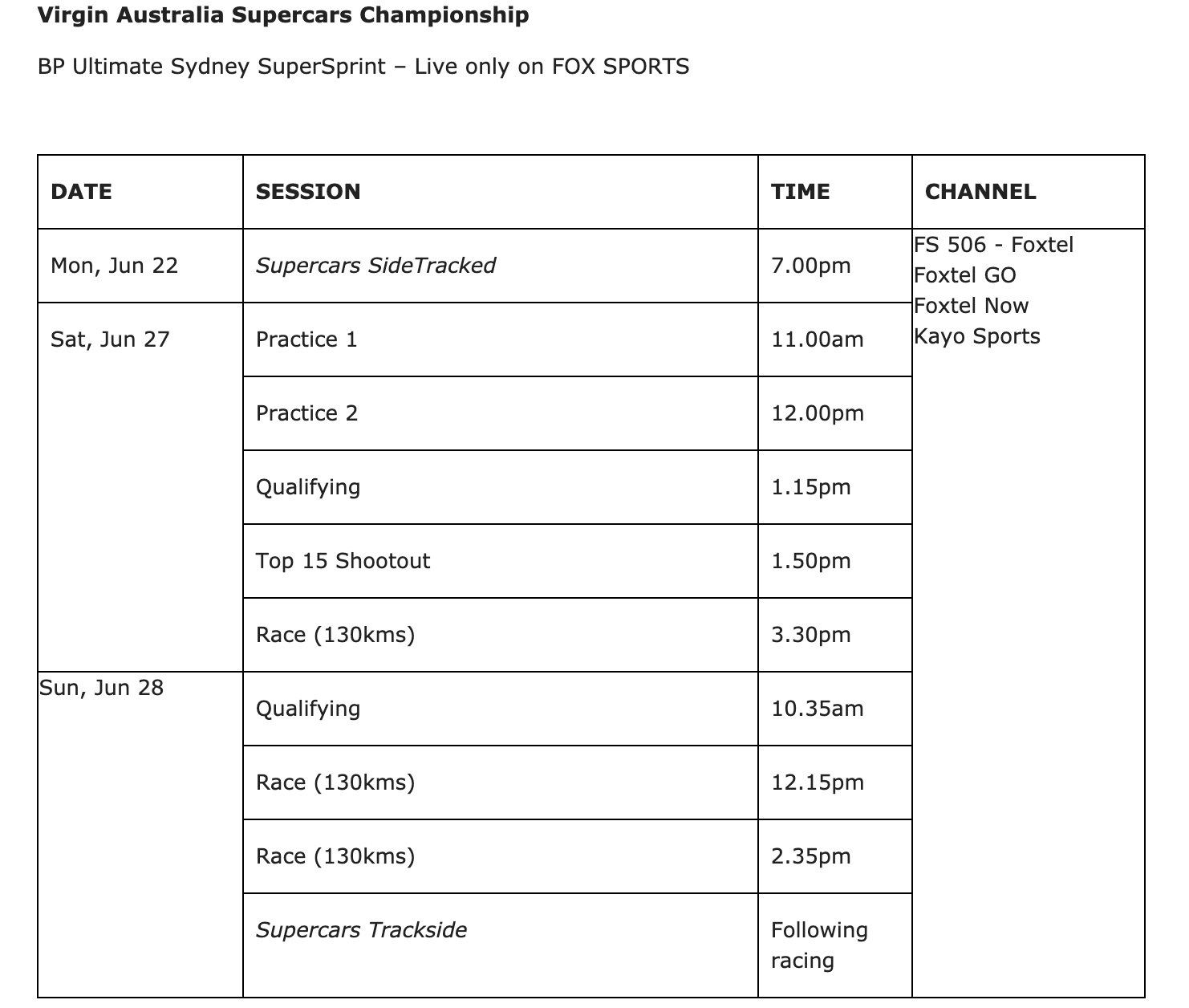 Supercars schedule